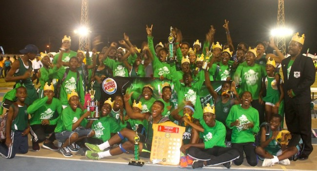 Burger King Lester Vaughan are the double crown kings of the Barbados Secondary Schools Athletic Championship.