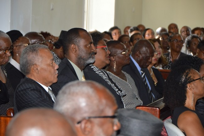 Former Prime Minister Owen Arthur, former Cabinet Minister Anthony Wood and Opposition Leader Mia Mottley at today's funeral of former Central Bank  Deputy Governor Carlos Holder.