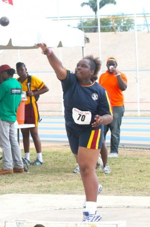Dashonta Addison of Alleyne School had the longest throw in the under-15 girls shot put with a distance of 8.94m.
