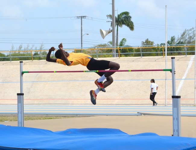 Delano Wickham set a new record at 1.86 in the boys' U17 high jump.