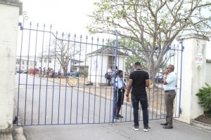 Classes ended early again today at Combermere School. When a Barbados TODAY team visited, the gate was shut and embattled principal Vere Parris was unavailable for comment.