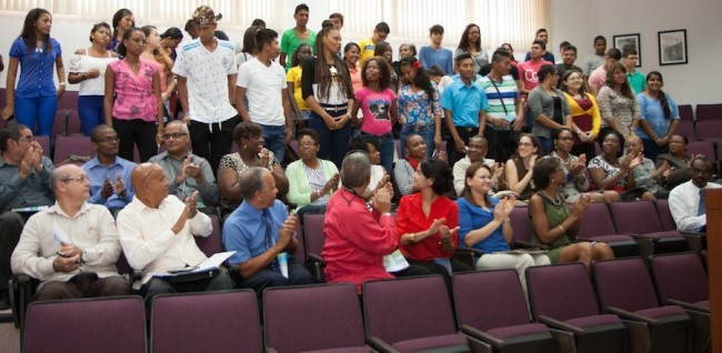 The group of Panamanian students during their orientation ceremony  at UWI, Cave Hill  Campus this morning.