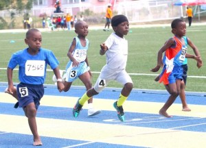Jamarco Gill of St Alban's won the under-seven boys 50m dash ahead of Rokeem King of St Giles.