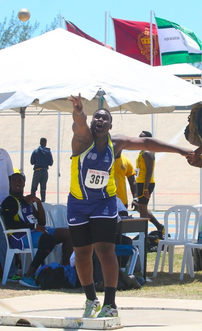 K-Cey Williams of Combermere School putted 13.71m to win the under-20 boys shot put.