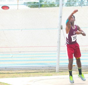 Last year's victor ludorum Enrique Babb of Coleridge and Parry had the strongest throw in the under-17 boys discus.