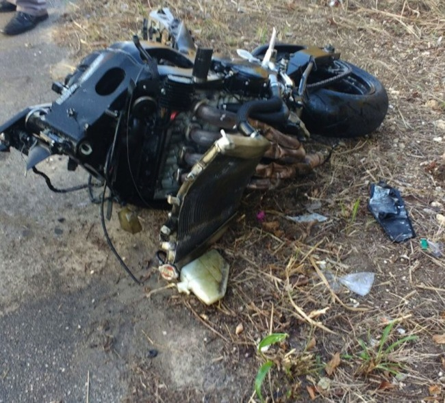 This is what was left of Noel's motorcycle following yesterday's fatal accident.