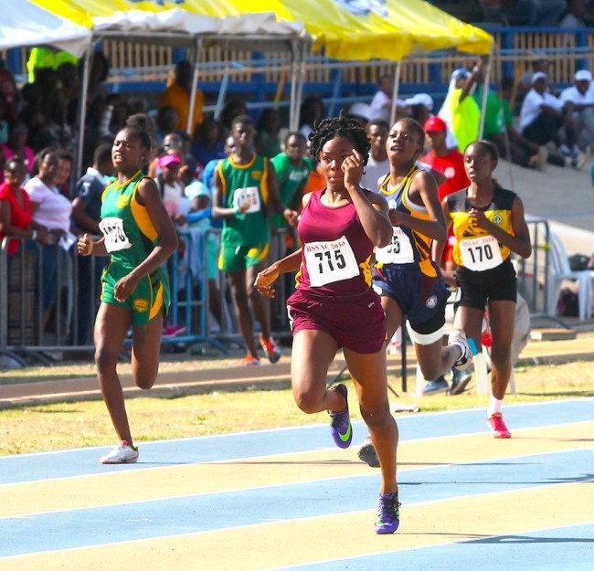 There was no stopping Akayla Morris of Harrison College as she destroyed the under-17 girls 200m field.