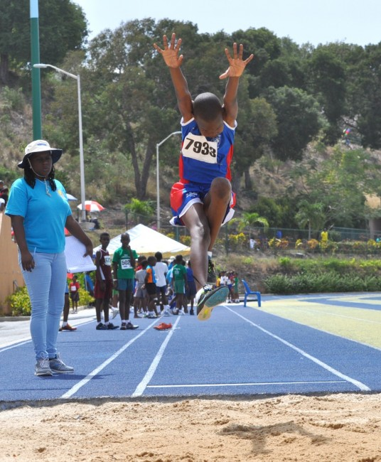 Timothy Worrell managed 4.51m for second in the Boys U13 long jump.