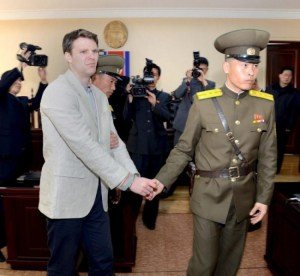 American student Otto Warmbier being led away from North Korea's top court, in this photo released by North Korea's Korean Central News Agency (KCNA) in Pyongyang today.