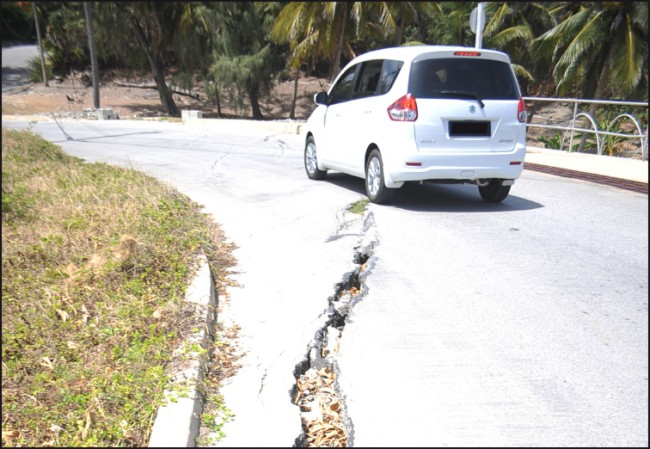 Cracks along the road at Glenburnie, St John.