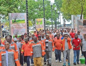 ArcelorMittal workers on their way to the Industrial Court yesterday where they celebrated a ruling in their favour.