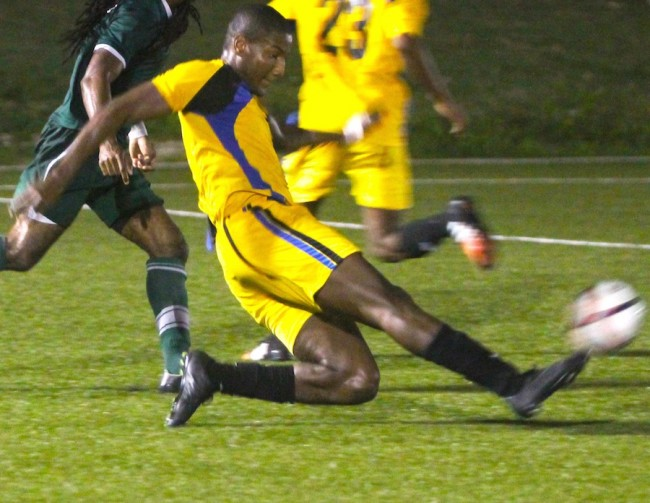 Mario Harte scored the equalizer for UWI Blackbirds last night. (FP)
