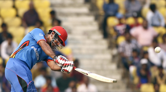 Afghanistan's Najibullah Zadran plays a shot during their ICC World Twenty20 2016 cricket match against West Indies in Nagpur, India, Sunday, March 27, 2016. (AP Photo/Saurabh Das)