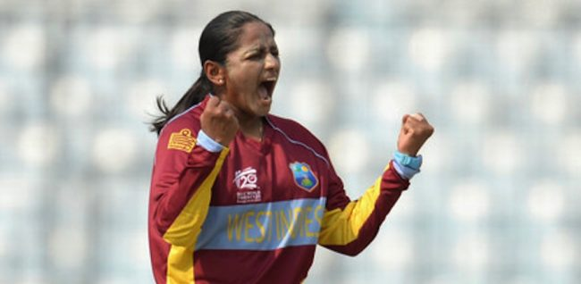 Anisa Mohammed screams in delight after another wicket.