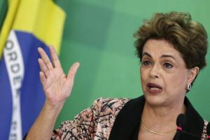 Brazil's President Dilma Rousseff gesturing during a news conference for foreign journalists at Planalto Palace in Brasilia, Brazil, on Tuesday.