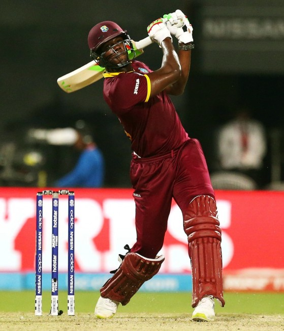 Carlos Brathwaite sends one into the stands.