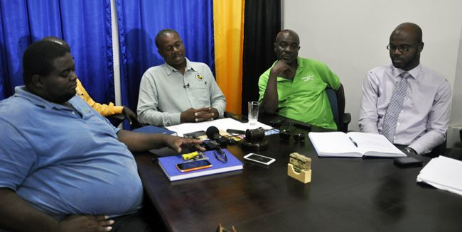 BUT President Pedro Shepherd and other union officials as they spoke to reporters today.