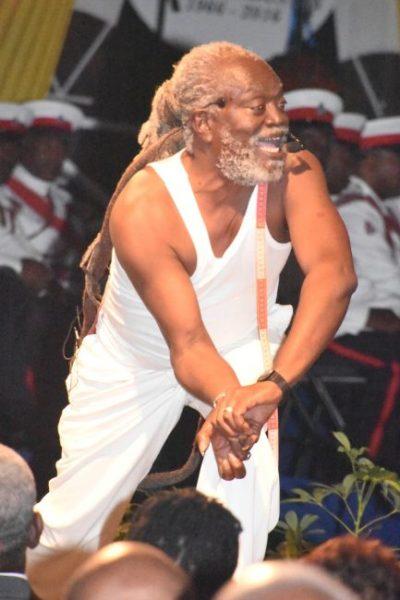 Artiste Winston Farrell performing Rites by Kamau Brathwaite.