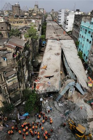 General view shows a partially collapsed overpass in Kolkata, India, Friday.