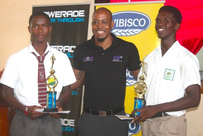 Jonathan Jones (left) of Coleridge and Parry and Anderson Greaves of Lester Vaughan (right) pose with their trophies that were presented by ICBL corporate communications specialist Randy Howard.