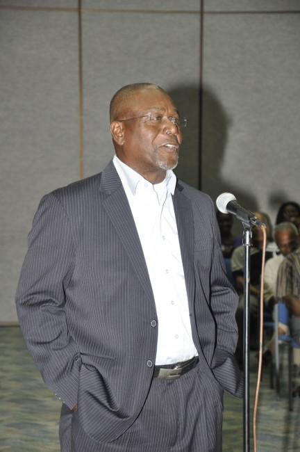 Legends of Barbados chairman Desmond Haynes making a point last night.