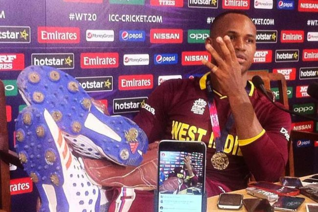 Marlon Samuels at the press conference.