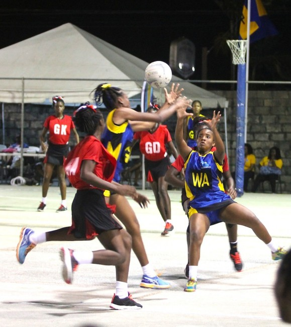 Quantya Rudder looked focused and determined for Barbados in her role as wing-attack. (Pictures by Morissa Lindsay)