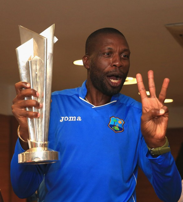 Sir Curtly Ambrose celebrating three World Cup titles - ICC U-19, Women's Twenty 20 and Men's Twenty20.