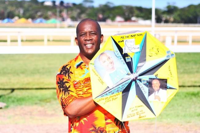 The kite honouring Square One founding member George Jones.