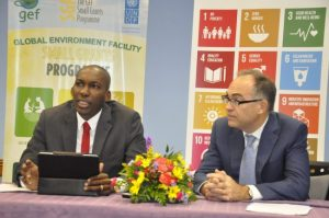 UN officials David Bynoe (left) and Stephen O'Mally at last week's conference.