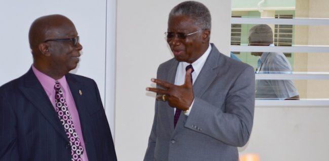Minister of Education Ronald Jones and Prime Minister Freundel Stuart.