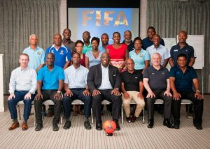 Facilitators (seated left to right) FIFA consultant Geoff Wilson, BFA general secretary Edwyn Wood, senior vice-president Al Walcott, FIFA development officer Howard McIntosh, BFA president Randy Harris, consultant Kevan Pipe, FIFA technical director Anton Corneal.