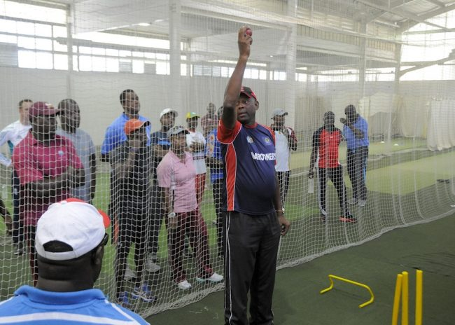 Former West Indies fast bowler Tony Gray making a point during this demonstration.