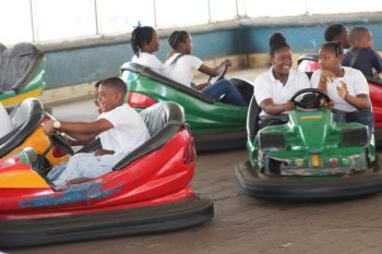 Some of the Class 4 children of St Stephen's Primary School enjoying the bumper cart rides.