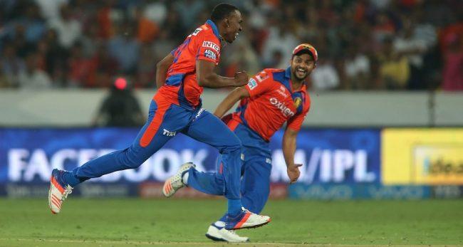 Lions' Dwayne Bravo (left) celebrates taking a wicket but Sunrisers had the last laugh.