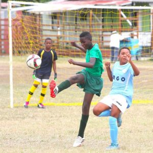 Milton Lynch's sweeper Xavier Griffith (centre) ensured Toby Dottin of Wills Primary did not score by clearing the ball.