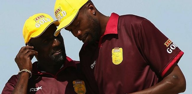 Sir Vivian Richards (left) and Sir Curtly Ambrose