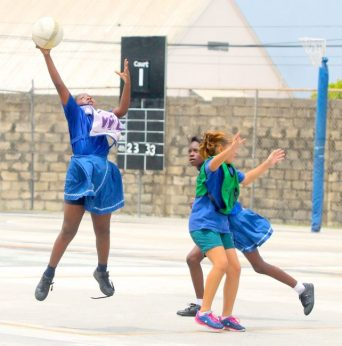 Anika Phillips in her role as wing-attack for George Lamming Primary took an excellent catch against St Winifred's.