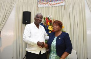 Prime Minister Freundel Stuart wishing the departing Cabinet Secretary Lucene Wharton-Isaac a long and happy retirement.