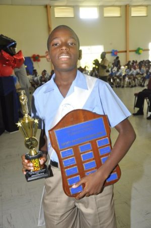 Most Outstanding Boy in the  11-Plus Examination at Reynold Weekes Primary School.