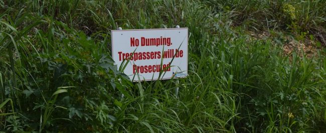 One of the signs which was ignored by the dumpers.