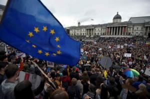 Demonstrators take part in a protest aimed at showing London's solidarity with the European Union following the recent EU referendum, inTrafalgar Square, central London, Britain.