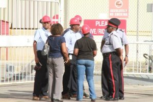 BL&P employees chatting with police officers.