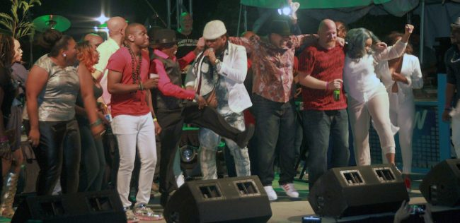 All artistes came on stage to join Peter Ram and the Red Boyz (centre) in singing his 2016 soca offering 'Crop Over Good Morning' to close the show.