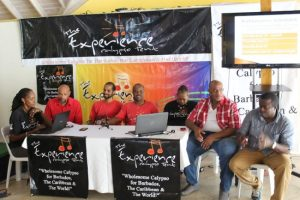 Members of the Experience Calypso Tent yesterday during the launch (from left): Jose Trotman, De Salt, Apache, Errol Griffth (tent manager), Susan Griffth, Njeri and Billboard.
