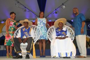Reigning King and Queen  Of The Crop Grantley Hurley and Judy Cumberbatch flanked  by NCF chairman Maureen Graham; Beverley Prescod, First Citizens' senior  manager of retail banking; and Minister of Culture Stephen Lashley.