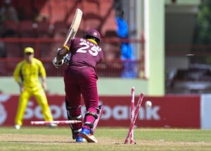Johnson Charles is bowled by Mitchell Starc to start a chain reaction of poor Windies' strokeplay.