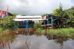 One of the many flooded homes along the West Coast Berbice Region.