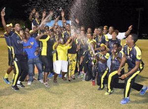 Players and supporters of Sagicor Life UWI having a champagne celebration last night.
