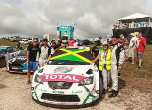 Sol Rally Barbados champs, Jeffrey Panton (right) and Mike Fennell (second left). (Pictures compliments BRC)